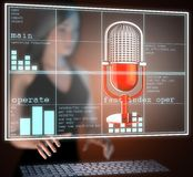 Retro microphone on hologram Stock Photography