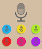 Retro microphone icon with color variations, Stock Photo
