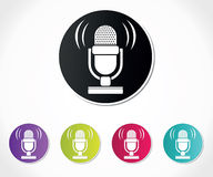 Retro microphone icon Stock Images