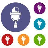 Retro microphone icons set. In flat circle red, blue and green color for web Stock Image