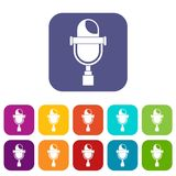 Retro microphone icons set flat Royalty Free Stock Photography