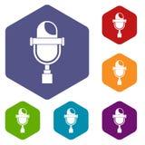 Retro microphone icons set hexagon. Isolated vector illustration Stock Photos