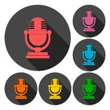 Retro microphone icons set with long shadow Royalty Free Stock Image