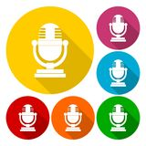 Retro microphone icons set with long shadow Stock Image