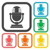 Retro microphone icons set. Vector icon Stock Images