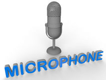 Retro microphone illustration. 3D rendered illustration of a retro grey microphone. The object is  on a white background with soft shadows and has attached the Royalty Free Stock Photos