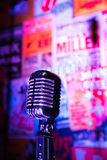 Retro Microphone Jazz Club. An old retro microphone in a jazz, blues or comedy club Royalty Free Stock Photography