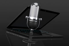 Retro Microphone with laptop Royalty Free Stock Photography