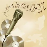 Retro microphone on music background Stock Photos