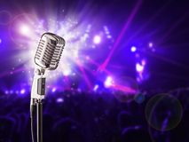 Retro microphone on music concert Stock Photo