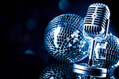 Retro microphone, music saturated concept Royalty Free Stock Photo