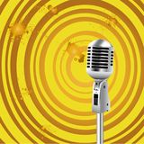 Retro Microphone Old Style background. Retro Microphone Grunge Old Styled background for Karaoke Parties Royalty Free Stock Images