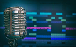 Retro microphone. Retro microphone over recording software background stock photos