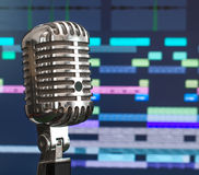 Retro microphone over recording software. stock image