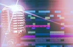 Retro microphone. Retro microphone over recording software background stock photo