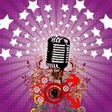 Retro microphone - party flyer Stock Image
