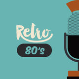 Retro microphone poster isolated icon design Stock Images