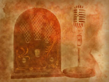 Retro  Microphone and radio  background. Microphone and radio retro on texture of old paper Stock Image