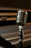 Retro microphone in recording studio Stock Images