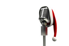 Retro microphone with santa hat Stock Photos