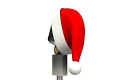 Retro microphone with santa hat Stock Photo