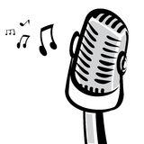 Retro microphone silhouette vector illustration Stock Photos