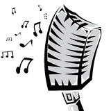 Retro microphone silhouette vector illustration Royalty Free Stock Photo