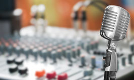 Retro microphone with sound mixer Stock Image