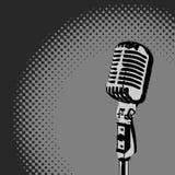 Retro Microphone Spotlight vector. Retro Microphone Grayscale Spotlight vector Royalty Free Stock Image