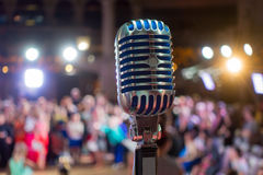 Retro microphone on the stage Royalty Free Stock Photography