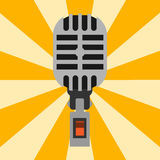 Retro microphone type icon journalist vector interview music broadcasting vocal tool tv tool. Royalty Free Stock Photography