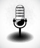 Retro microphone on dots card. Vector Stock Images