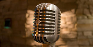 Retro microphone view Stock Photography