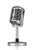 Retro microphone. Vintage silver microphone on white background royalty free stock photos