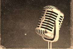 Retro microphone. ) Vintage style or worn paper photo image royalty free stock photo