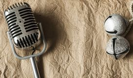Retro microphone. Vintage style or worn paper photo image royalty free stock photos