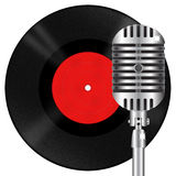 Retro microphone and vinyl disk Royalty Free Stock Photos