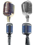 Retro Microphones. Isolated on white Stock Images