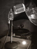 Retro microphones, Oldies Vintage style sepia photography Royalty Free Stock Images