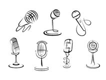 Retro microphones sketches Royalty Free Stock Image