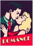 Vintage mid-century couple kissing romance valentine`s day vector illustration Royalty Free Stock Photos