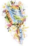 Retro mikrofon på vit bakgrund Royaltyfria Foton