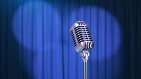 Retro- Mikrofon und ein blauer Vorhang mit Scheinwerfern, 3d übertragen lizenzfreie stockfotografie