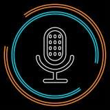 Retro mikrofonsymbol - solid musik stock illustrationer