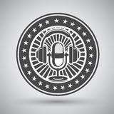 Retro mikrofonu i hełmofonów emblemat Zdjęcia Stock