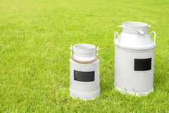 Retro milk cans on a green grass. Royalty Free Stock Images