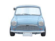 Retro mini automobile blu di dimensione isolata su bianco Fotografia Stock