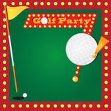 Retro Miniatury Golfa Przyjęcia Zaproszenie ilustracja wektor