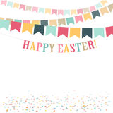Retro Minimal Happy Easter Day Cute Flat Illustration. Background For Greeting Card, Ad, Promotion, Poster. Copy Space