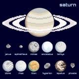 Retro minimalistic reeks Saturn en manen vector illustratie